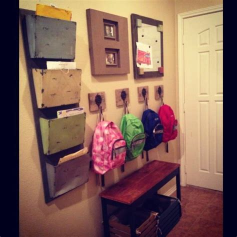 entryway backpack storage school wall for kids shoes backpacks papers magnet