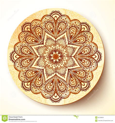 ornate vector plate with indian style ornament stock