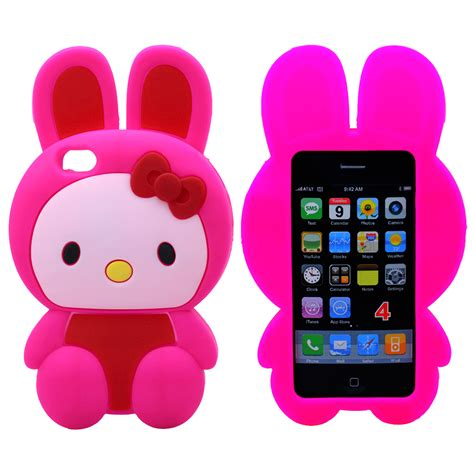 Softcase Hello Iphone 4g 4s wholesale iphone 4s 4 3d hello bunny pink