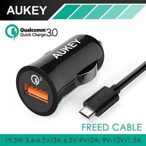 Aukey Cct10 Car Charger Charge 30 20 Qualcomm Fast Cha T1310 1 qualcomm charge 3 0 aukey 3 in 1 car charger 2 4a for android car charger for