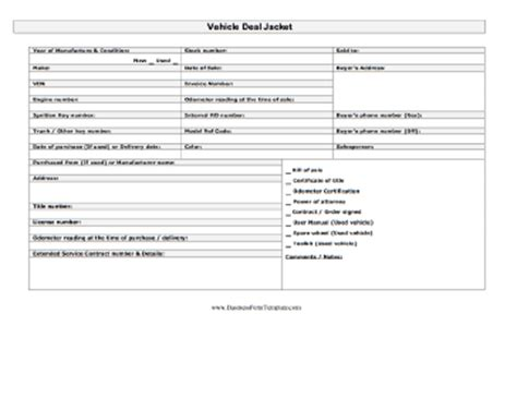 Vehicle Deal Jacket Template Car Sales Worksheet Template
