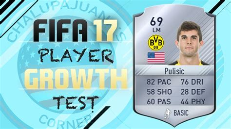 christian pulisic in fifa 17 fifa 17 christian pulisic growth test gameplay youtube