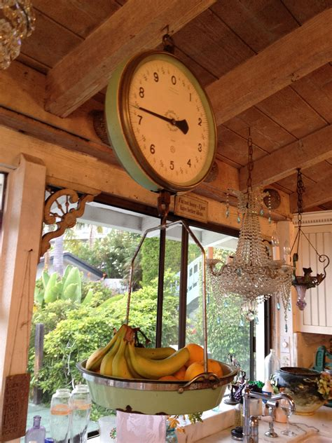 antique scale   green          hanging