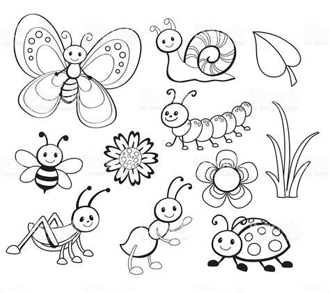 coloring conjuntos vector conjunto de linda insecto de historieta de arte
