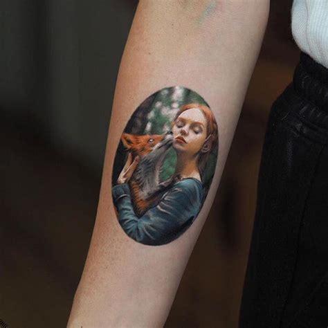 wild idea tattoo realistic fox and idea on forearm
