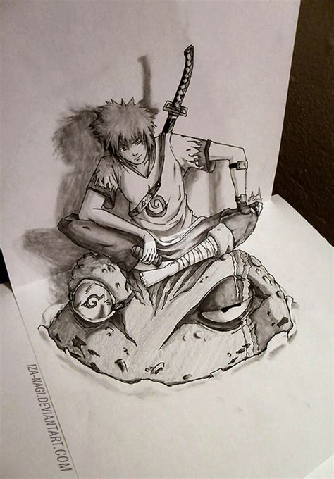 3d sketch drawing 3d sketch yondaime hokage by iza nagi on deviantart