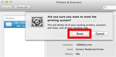 resetting printer in yosemite how to reset the printing system in mac os x to fix