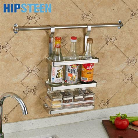 Stainless Steel Spice Rack Wall Mount Hipsteen Three Layer Stainless Steel Hanging Spice Rack