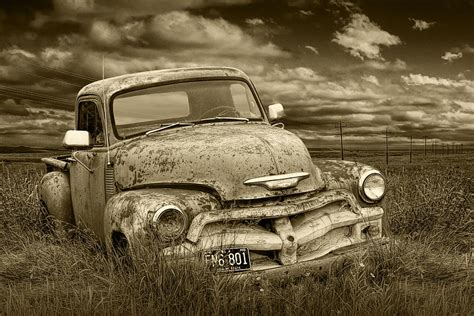 boat salvage north dakota sepia tone abandoned chevy pickup truck photograph by