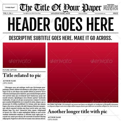 newspaper header template newspaper front page template psd tomyumtumweb
