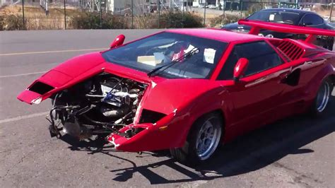crashed red lamborghini crashed lamborghini countach youtube