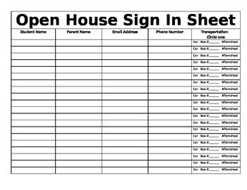 open house sign in sheet open house sign in sheet by kayla lyall teachers pay teachers