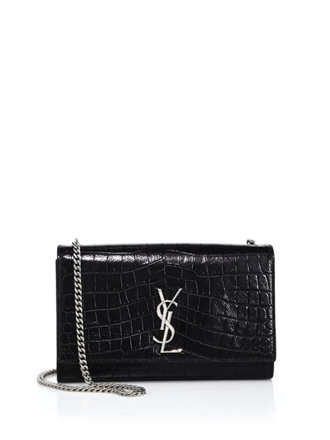 saint laurent monogram medium crocodile embossed leather
