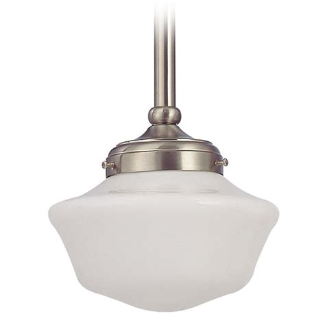 8 Inch Schoolhouse Mini Pendant Light In Satin Nickel School House Pendant Lights