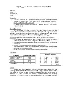 Freshman Literature Syllabus Template And Sle Course Schedule Syllabus Template Word