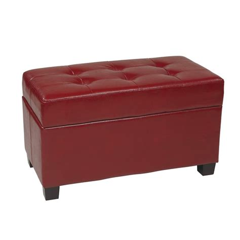 leather ottoman storage bench office star metro storage bench crimson red faux leather