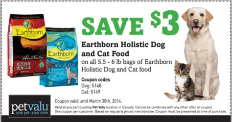printable pet food coupons canada pet valu canada printable coupons save 3 on earthborn