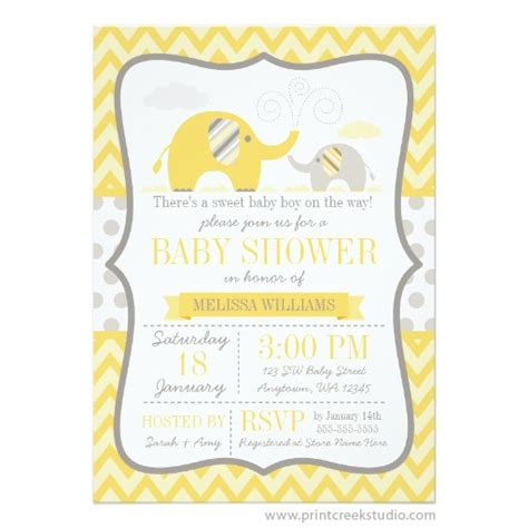 Yellow Baby Shower Invitations by Mod Yellow Gray Elephant Baby Shower Invitation