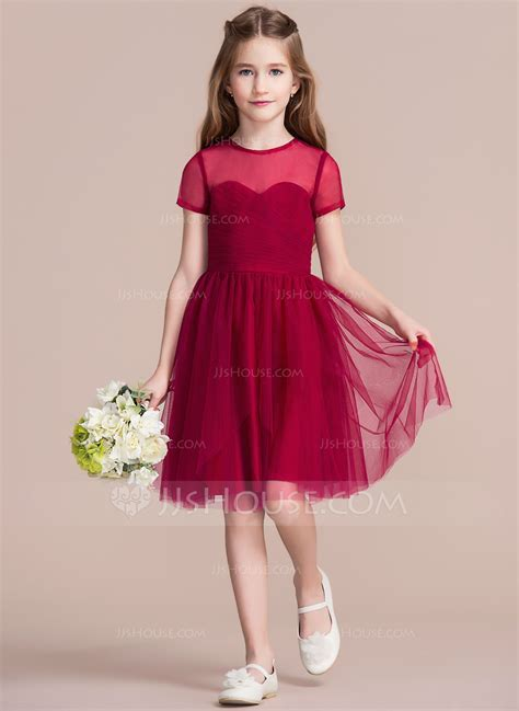 A Line/Princess Scoop Neck Knee Length Tulle Junior