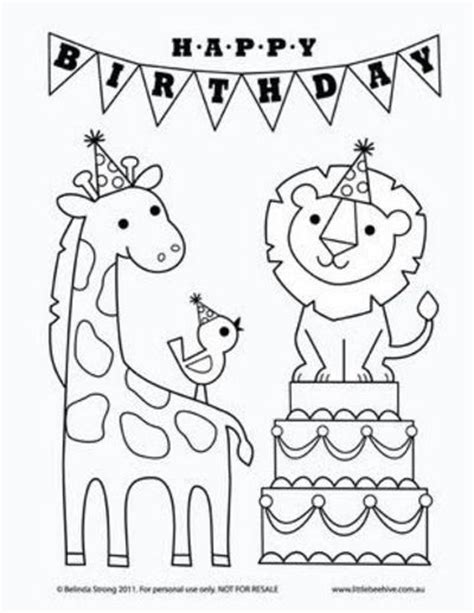 printable coloring pages birthday free birthday card coloring pages