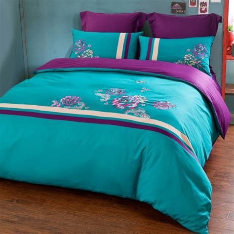 turquoise bedding sets turquoise and purple paisley and flower pattern simply