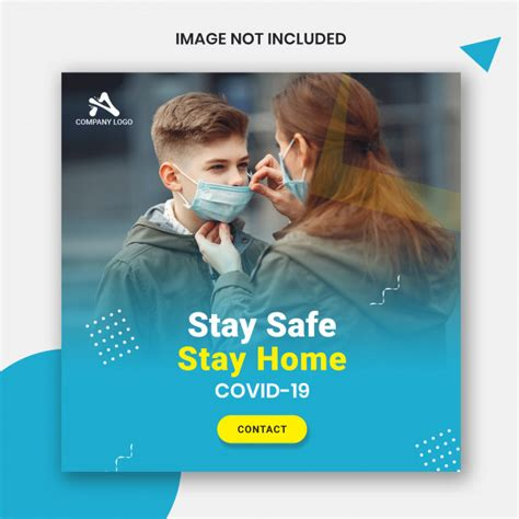stay safe stay home square banner template premium psd file