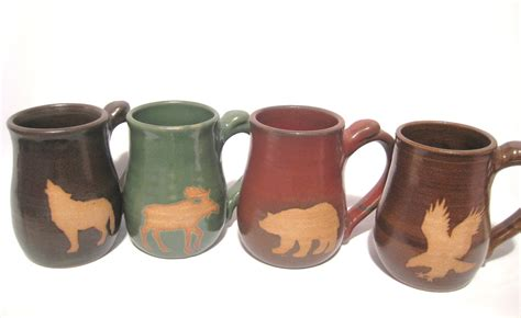 animal coffee mugs wild animal coffee mug set of 4 handmade pottery art