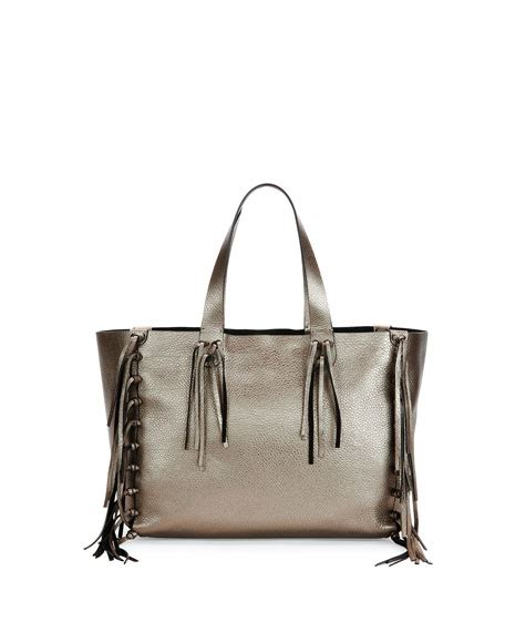 Loyd Maish Metallic Tote 2 by Valentino Garavani C Rockee Fringed Metallic Tote Bag Silver