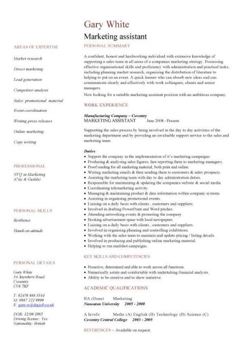cv marketing template marketing assistant cv sle