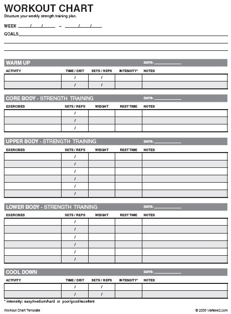 free workout chart printable weight lifting chart