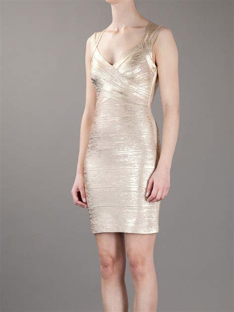 Premium Herve Leger Izzie Sleeve Dress Con Bandage lyst herv 233 l 233 ger con dress in metallic