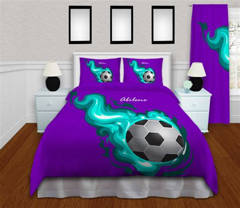 girls soccer bedding soccer bedding for girls with teal flames purple background 255 eloquent innovations