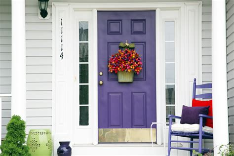 purple front door making an entrance part iii colorful porch makeover