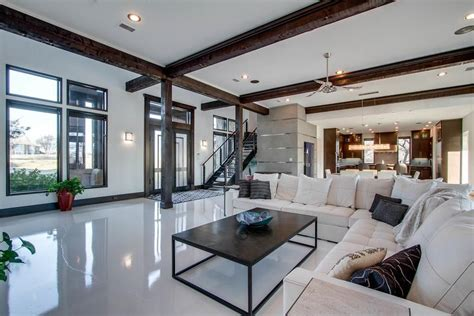 Exposed Beam Ceiling Living Room Contemporary Living Room With Columns Concrete Floors In Corinth Tx Zillow Digs Zillow