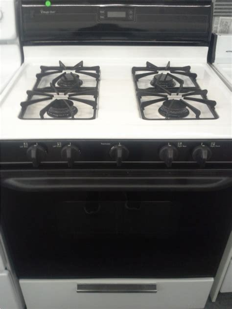MAGIC CHEF BLACK & WHITE 4 BURNER GAS RANGE *OUT OF STOCK
