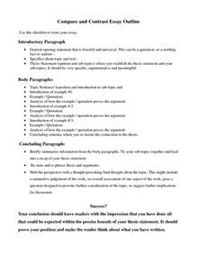 Compare And Contrast Essay Outlines by Compare Contrast Essay Outline Search Education College School And