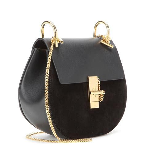 chloe bag drew chlo 233 drew leather and suede shoulder bag in black lyst