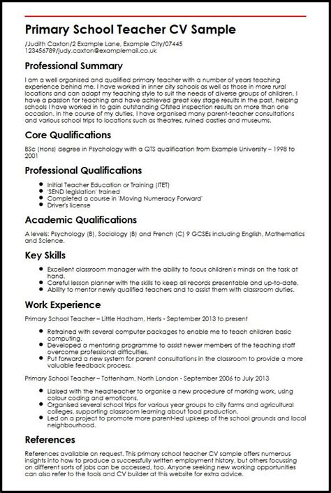 Sample Resume For Maths Teachers by Primary Teacher Cv Sample Myperfectcv