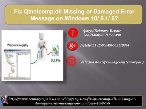 fix microsoft exchange error message windows xp vista windows fix qtnetcomp dll missing or damaged error message on