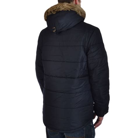 Quilted Parkas by Slazenger Mens Quilted Padded Faux Fur Hooded Winter