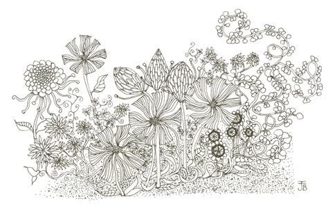 Flower Garden Drawing Print Flower Garden Giclee In Black And White From By Illustrarti
