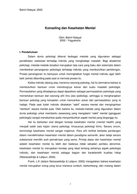 Konseling Kesehatan Mental Klinis pdf konseling dan kesehatan mental