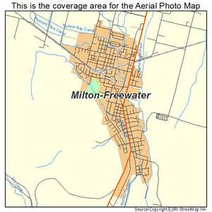 aerial photography map of milton freewater or oregon