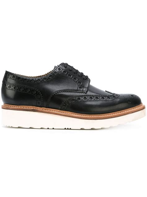 foot the coacher rubber sole brogue shoes in black for