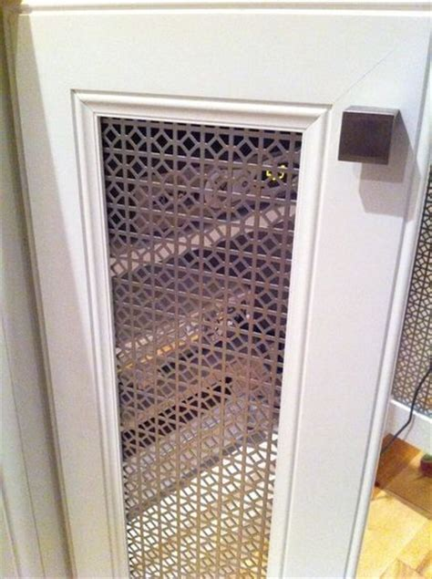 metal cabinet door inserts remove center doors on cabinet replace with perforated