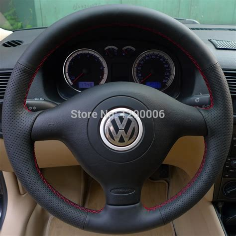 volante golf 4 black leather steering wheel cover for volkswagen vw golf