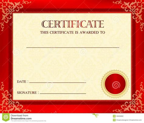 certificate design red sle certificate with seal gallery certificate design