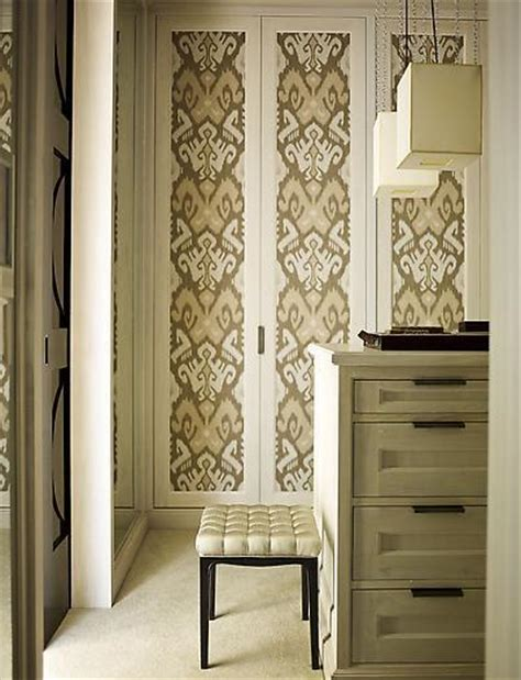 wallpapered closet doors transitional closet s r