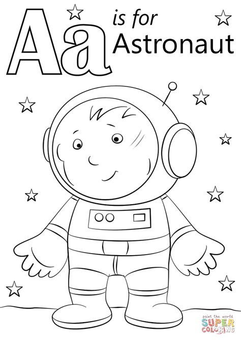 letter a coloring pages letter a is for astronaut coloring page free printable