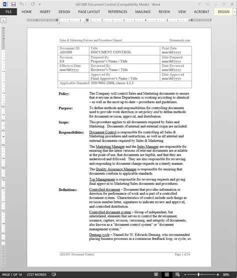 Document Control Procedure Iso Document Template